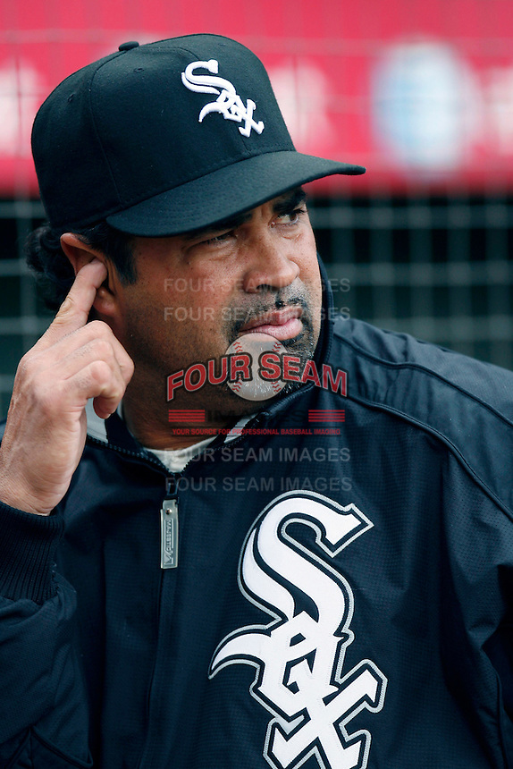 Chicago White Sox Manager Ozzie Guillen during batting practice before a 2007 MLB season game against the Los Angeles Angels at Angel Stadium in Anaheim, California. (Larry Goren/Four Seam Images)