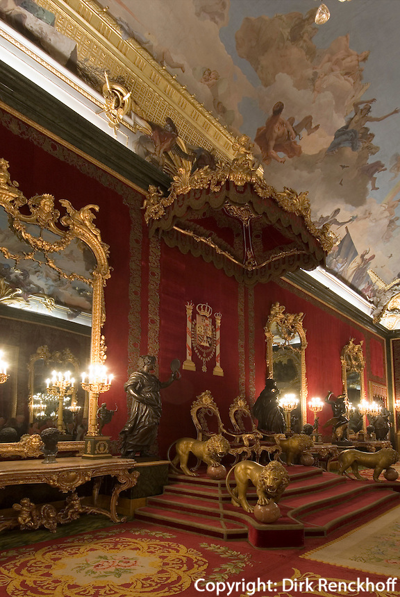 Spanien,Thronsaal im Palacio Real (Königspalast) in Madrid