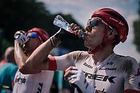 Michael Gogl (AUT/Trek-Segafredo) hydrating after a hot day over dusted cobbles<br /> <br /> Stage 9: Arras Citadelle > Roubaix (154km)<br /> <br /> 105th Tour de France 2018<br /> ©kramon