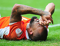Blackpool's Kyle Vassell winces in pain after going down injured<br /> <br /> Photographer Kevin Barnes/CameraSport<br /> <br /> Football - The EFL Sky Bet League Two - Blackpool v Exeter City - Saturday 6th August 2016 - Bloomfield Road - Blackpool<br /> <br /> World Copyright © 2016 CameraSport. All rights reserved. 43 Linden Ave. Countesthorpe. Leicester. England. LE8 5PG - Tel: +44 (0) 116 277 4147 - admin@camerasport.com - www.camerasport.com