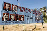 Cuba, Gemälde in Cajababo: Marti landet mit Genossen 1895 in Cuba, Provinz Guantanamo