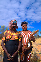 Rare Photograph of Aboriginal Boy & Grandmother in Paint in the Outback, Australia..