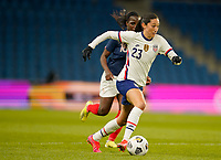 LE HAVRE, FRANCE - APRIL 13: Christen Press #23 of the United States moves towards the box during a game between France and USWNT at Stade Oceane on April 13, 2021 in Le Havre, France.