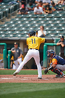Taylor Ward (11) of the Salt Lake Bees at bat against the Las Vegas Aviators at Smith's Ballpark on July 25, 2021 in Salt Lake City, Utah. The Aviators defeated the Bees 10-6. (Stephen Smith/Four Seam Images)