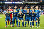 Players of Celta de Vigo line up and pose for a photo during their Copa del Rey 2016-17 Quarter-final match between Real Madrid and Celta de Vigo at the Santiago Bernabéu Stadium on 18 January 2017 in Madrid, Spain. Photo by Diego Gonzalez Souto / Power Sport Images