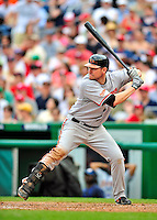 24 May 2009: Baltimore Orioles' first baseman Aubrey Huff at bat during a game against the Washington Nationals at Nationals Park in Washington, DC. The Nationals rallied to defeat the Orioles 8-5 and salvage a win in their interleague series. Mandatory Credit: Ed Wolfstein Photo
