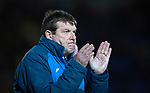 St Johnstone v Hearts…05.04.17     SPFL    McDiarmid Park<br />Tommy Wright applauds his players<br />Picture by Graeme Hart.<br />Copyright Perthshire Picture Agency<br />Tel: 01738 623350  Mobile: 07990 594431