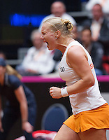 Netherlands, Den Bosch, April 18 2015 Maaspoort, Fedcup Netherlands-Australia,  Kiki Bertens (NED)  screems it out she wins<br /> Photo: Tennisimages/Henk Koster