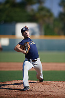 Colton Schutte (65), from Glenwood, Iowa, while playing for the Padres during the Baseball Factory Pirate City Christmas Camp & Tournament on December 28, 2017 at Pirate City in Bradenton, Florida.  (Mike Janes/Four Seam Images)