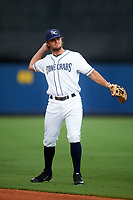 Charlotte Stone Crabs third baseman Jim Haley (38) warms up before during the first game of a doubleheader against the Tampa Yankees on July 18, 2017 at Charlotte Sports Park in Port Charlotte, Florida.  Charlotte defeated Tampa 7-0 in a game that was originally started on June 29th but called to inclement weather.  (Mike Janes/Four Seam Images)