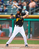 Dustin Ackley (6) of the Salt Lake Bees at bat against the Fresno Grizzlies in Pacific Coast League action at Smith's Ballpark on April 17, 2017 in Salt Lake City, Utah. The Bees defeated the Grizzlies 6-2. (Stephen Smith/Four Seam Images)