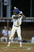 Kier Meredith (3) (Clemson) of the High Point-Thomasville HiToms at bat against the Wilson Tobs at Finch Field on July 17, 2020 in Thomasville, NC. The Tobs defeated the HiToms 2-1. (Brian Westerholt/Four Seam Images)