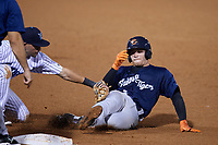 Lakeland Flying Tigers catcher Andres Sthormes (37) is tagged out by third baseman Angel Aguilar while sliding into third base during the second game of a doubleheader against the Tampa Tarpons on May 31, 2018 at George M. Steinbrenner Field in Tampa, Florida.  Lakeland defeated Tampa 3-2.  (Mike Janes/Four Seam Images)