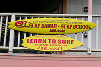 Learn to surf the north shore waves at a legitimate surfing school. This school located at the North Shore Marketplace in the town of Haleiwa on Oahu's north shore.