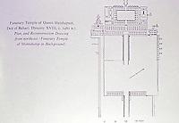 Egypt. Funerary Temple of Queen Hatshepsut, Deir el Bahari. Dynasty XVIII, C. 1480 B.C. Plan and Reconstruction drawing from northeast.