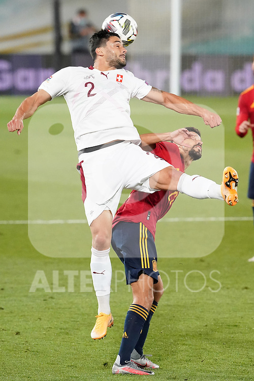 Spain's Jesus Navas (r) and Switzerland's Loris Benito during UEFA Nations League 2020 League Phase match. October 10,2020.(ALTERPHOTOS/Acero)