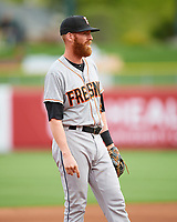 Colin Moran (8) of the Fresno Grizzlies on defense against the Salt Lake Bees in Pacific Coast League action at Smith's Ballpark on April 17, 2017 in Salt Lake City, Utah. The Bees defeated the Grizzlies 6-2. (Stephen Smith/Four Seam Images)