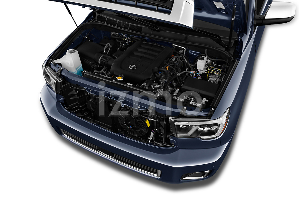 Car stock 2018 Toyota Sequoia Limited Auto 5 Door SUV engine high angle detail view