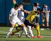 CHARLOTTE, NC - JULY 20: Bukayo Saka #77 and Lorenzo Venuti #2 contest the ball during a game between ACF Fiorentina and Arsenal at Bank of America Stadium on July 20, 2019 in Charlotte, North Carolina.