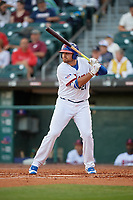 Buffalo Bisons first baseman Rowdy Tellez (21) bats during a game against the Syracuse Chiefs on June 30, 2017 at Coca-Cola Field in Buffalo, New York.  Syracuse defeated Buffalo 8-1.  (Mike Janes/Four Seam Images)