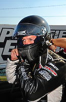 Sept. 2, 2011; Claremont, IN, USA: NHRA pro mod driver Eric Dillard during qualifying for the US Nationals at Lucas Oil Raceway. Mandatory Credit: Mark J. Rebilas-