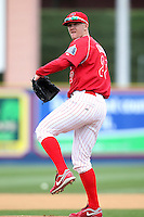 Reading Phillies pitcher Tyler Cloyd #22 during practice before a game against the New Hampshire Fisher Cats at FirstEnergy Stadium on April 10, 2012 in Reading, Pennsylvania.  New Hampshire defeated Reading 3-2.  (Mike Janes/Four Seam Images)