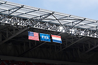 LYON, FRANCE - JULY 07: USA, FIFA and Netherlands flags during a game between Netherlands and USWNT at Stade de Lyon on July 07, 2019 in Lyon, France.