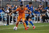 SAN JOSE, CA - JULY 24: Matias Vera #22 of the Houston Dynamo is challenged by Carlos Fierro #7 of the San Jose Earthquakes during a game between San Jose Earthquakes and Houston Dynamo at PayPal Park on July 24, 2021 in San Jose, California.