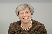 British Prime Minister Theresa May arrives for the Bay City Region deal, at the Liberty Stadium, Swansea, Wales, UK. Monday 20 March 2017.