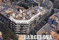 Postcard is an aerial view of La Pedrera-Casa Milà, Barcelona. Design by Antoni Gaudi.