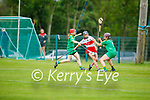 Kerry's Elaine Ryall and keeper Aoife Fitzgerald making it difficult from Derry's Therese Mellon in the Intermediate Camogie championship