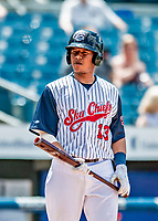 22 July 2018: Syracuse SkyChiefs catcher Pedro Severino at bat against the Louisville Bats at NBT Bank Stadium in Syracuse, NY. The Bats defeated the Chiefs 3-1 in AAA International League play. Mandatory Credit: Ed Wolfstein Photo *** RAW (NEF) Image File Available ***