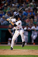 Tri-City ValleyCats second baseman Michael Wielansky (17) at bat during a game against the Vermont Lake Monsters on June 16, 2018 at Joseph L. Bruno Stadium in Troy, New York.  Vermont defeated Tri-City 6-2.  (Mike Janes/Four Seam Images)