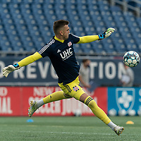 FOXBOROUGH, MA - AUGUST 7: Keegan Meyer #50 of New England Revolution II warms up before a game between Orlando City B and New England Revolution II at Gillette Stadium on August 7, 2020 in Foxborough, Massachusetts.