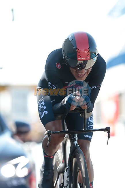 Richard Carapaz (ECU) Ineos Grenadiers during Stage 20 of the 2021 Tour de France, an individual time trial running 30.8km from Libourne to Saint-Emilion, France. 17th July 2021.  <br /> Picture: Colin Flockton | Cyclefile<br /> <br /> All photos usage must carry mandatory copyright credit (© Cyclefile | Colin Flockton)
