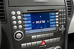 Audio system close up view on a Mercedes Benz SLK Class sports car