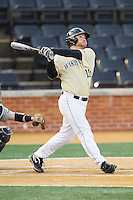 Nate Mondou (10) of the Wake Forest Demon Deacons hits a walk-off home run in the bottom of the ninth inning against the Marshall Thundering Herd at Wake Forest Baseball Park on February 17, 2014 in Winston-Salem, North Carolina.  The Demon Deacons defeated the Thundering Herd 4-3.  (Brian Westerholt/Four Seam Images)