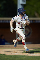 Britt Fuller (32) (Duke) of the High Point-Thomasville HiToms hustles down the first base line against the Statesville Owls at Finch Field on July 19, 2020 in Thomasville, NC. The HiToms defeated the Owls 21-0. (Brian Westerholt/Four Seam Images)