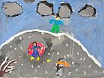 Art work by school age child snow scene with children, grade 3, age 8