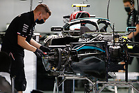 27th March 2021; Sakhir, Bahrain; F1 Grand Prix of Bahrain, Qualifying sessions;  mechanics of Mercedes AMG F1 GP, work on their car in the garage during Formula 1 Gulf Air Bahrain Grand Prix 2021 qualifying