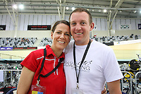 Southland's Dale and Stu MacDonald celebrate their wedding anniversary at the BikeNZ Elite & U19 Track National Championships, Avantidrome, Home of Cycling, Cambridge, New Zealand, Sunday, March 16, 2014. Credit: Dianne Manson