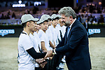 Christophe Ameeuw, CEO of EEM, shakes hands with the volunteers after the Longines Grand Prix during the Longines Masters of Hong Kong at AsiaWorld-Expo on 11 February 2018, in Hong Kong, Hong Kong. Photo by Diego Gonzalez / Power Sport Images