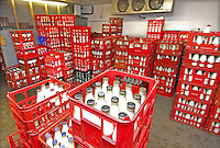 Milk bottles in milk crates for home delivery.