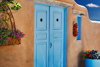 Colorful door and flowers. Taos, New Mexico