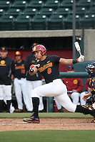 Adalberto Carrillo #8 of the Southern California Trojans bats against the Coppin State Eagles at Dedeaux Field on February 18, 2017 in Los Angeles, California. Southern California defeated Coppin State, 22-2. (Larry Goren/Four Seam Images)