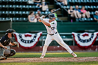 20 June 2021: Vermont Lake Monsters infielder Jakob Bullard, from Hampton, NH, at bat in the 8th inning against the Westfield Starfires at Centennial Field in Burlington, Vermont. Bullard hit a triple and subsequently scored on Sky Rahill's home run as the Lake Monsters were unable to rally, falling to the Starfires 10-2 at Centennial Field, in Burlington, Vermont. Mandatory Credit: Ed Wolfstein Photo *** RAW (NEF) Image File Available ***
