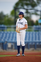 Charlotte Stone Crabs starting pitcher Josh Fleming (27) looks in for the sign during a game against the Bradenton Marauders on August 6, 2018 at Charlotte Sports Park in Port Charlotte, Florida.  Charlotte defeated Bradenton 2-1.  (Mike Janes/Four Seam Images)