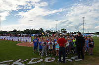 Batavia Muckdogs national anthem during the opening ceremonies before a game against the State College Spikes on June 22, 2016 at Dwyer Stadium in Batavia, New York.  State College defeated Batavia 11-1.  (Mike Janes/Four Seam Images)