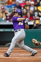 LSU Tigers designated hitter Chris Chinea (26) follows through on his swing during the NCAA baseball game against the Baylor Bears on March 7, 2015 in the Houston College Classic at Minute Maid Park in Houston, Texas. LSU defeated Baylor 2-0. (Andrew Woolley/Four Seam Images)