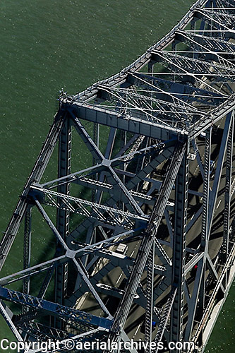 aerial photograph of the cantileavered section of the San Francisco Oakland Bay Bridge before its replacement, 2010